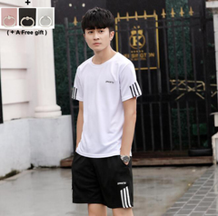 Male Students Summer Sports Suit Short Sleeve Short Pants Suit Black White Grey white M