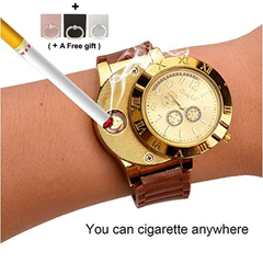 Men sport Watch Electronic lighter USB charging Safe and convenient at low temperature Gold