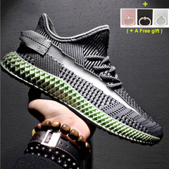 Sports breathable men's shoes Mesh cloth Trendy shoes black gray green Black and green 40