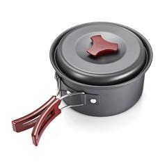 8pcs 2 - 3 People Portable Outdoor Camping Aluminum Cookware Picnic Bowl Pot Pan