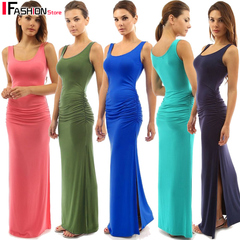 IFashion-1 item High Stretch Tank Robe Summer 2019 Sexy O-neck Sleeveless Long Dresses for Women pink s