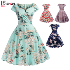IFashion 1-item A-Line Dresses for Women Print Short Sleeve Party Dress Summer Robe Female Casual Green s