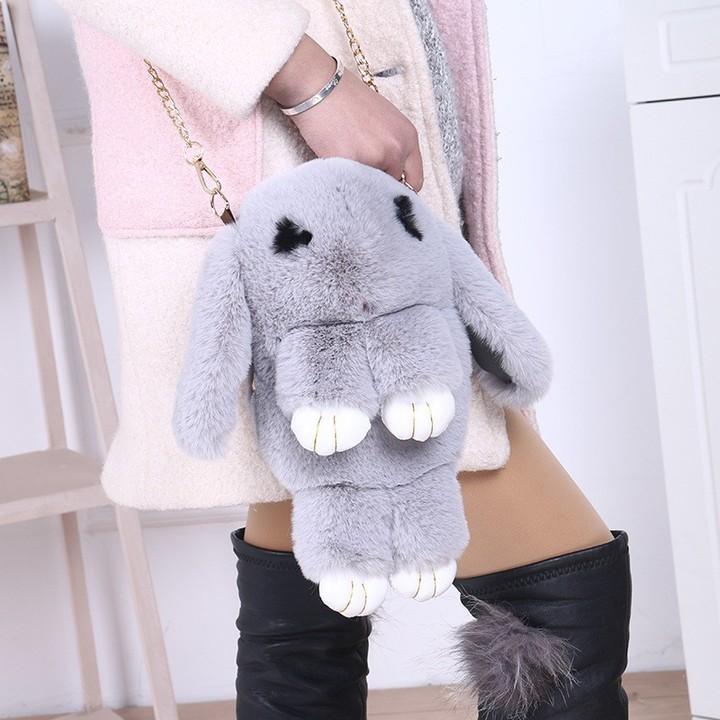 Rabbit Sling Bag Fluffy Bunny Bags Shoulder Crossbody Beg Pink one size