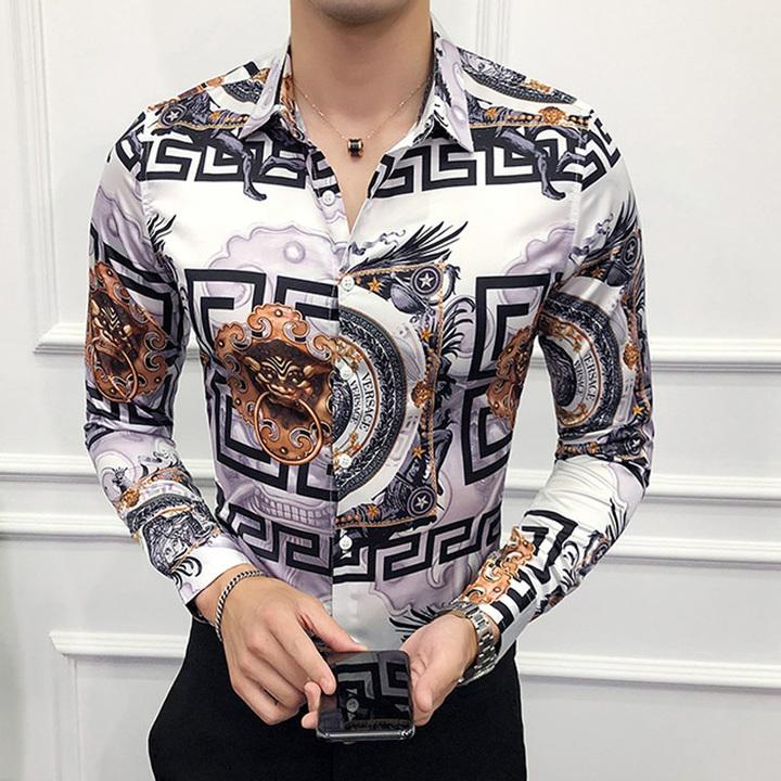 Fashion print t shirt show vintage t shirt slim fit club dance print man t shirt white M