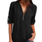 A new feminine sexy v-neck casual summer shirt with long sleeve chiffon blouses black XXXXXL