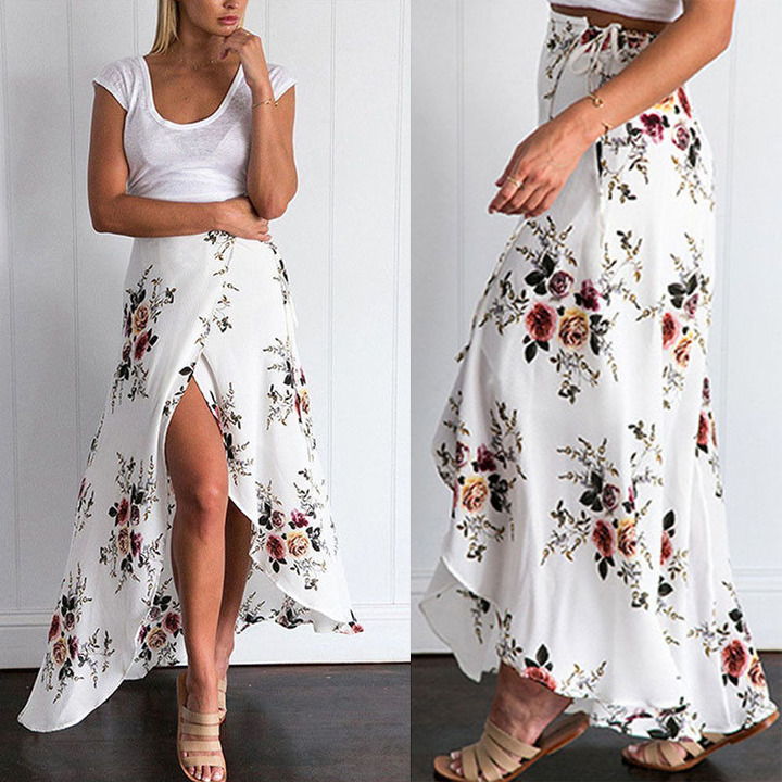 2019 European and American vintage holiday style irregular-tie women's skirt white xl