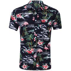 Summer Hawaiian short-sleeved shirt men's cotton flamingo print casual dress shirt 29-1 M