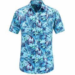 2019 fashion formal men's cotton short-sleeved shirt summer casual floral shirt top gray s