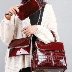Hot mama wax skin new single shoulder diagonal span son mother three - piece bag Red wine All code