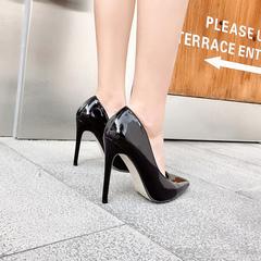 2019 new pointy high heels super skinny heels sexy patent leather black heels patent leather black 35