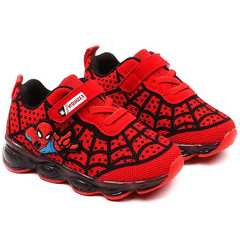 Spiderman luminous shoes children's wear LED lights children's shoes red Length: 13.5cm within 21 yards