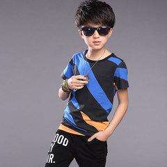 2019 new boys sportswear big boys summer wear big boys summer wear short sleeve trend blue 130cm