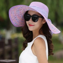 Sunshade hat lady summer sun folding outdoor uv - resistant beach hat in summer purple