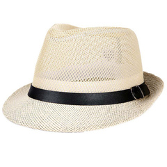 Hat man summer western cowboy mesh big eaves outdoor travel hat Rice white
