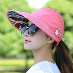 Folding sun protection cap cycling sun protection cap pearl flower cap sun protection beach cap watermelon red