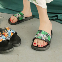 Female summer fashion tree leaves outside wearing beach shoes flat female slippers green 40-41