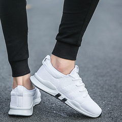 2019 spring new men's flying fabric loafers men's breathable sneakers trend running shoes white 39