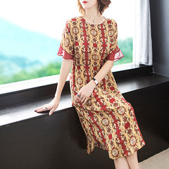 The new spring/summer 2019 women's wear is elegant and slimming Red flowers S