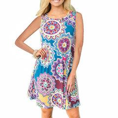 2019 summer dress new European and American women's print sleeveless print dress 33 colors Elements of yellow XXXL