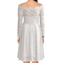 2019 long-sleeved lace dress slim and elegant show a large skirt with a wide neckline white S