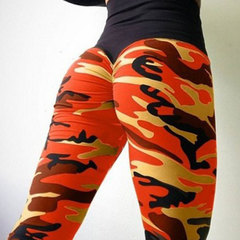 The new four-pin, six-line digital camo print sports leggings for women with hips and high waists orange S
