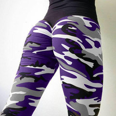 The new four-pin, six-line digital camo print sports leggings for women with hips and high waists purple 2XL