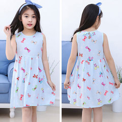 Children's wear 2019 new children's summer cotton dress baby dress dress girl princess dress Powder blue butterfly Recommended height for 100 yards: 90cm-100cm