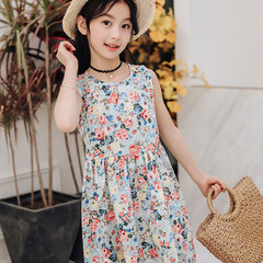 2019 summer floral skirt new cuhk cotton sundress Korean version girl princess dress Hidden green flower Recommended height for 100 yards: 90cm-100cm