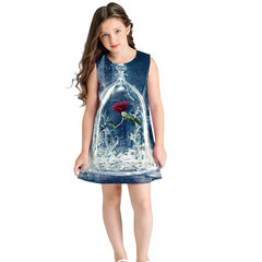 Printed girls sleeveless dress fashion loose children's princess skirt fashion trend BGZ005 125cm-145cm(S)