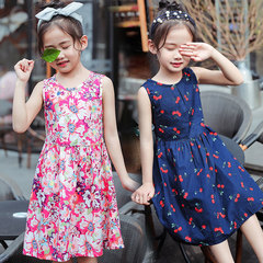 Children's dress summer dress 2019 new Korean version of summer baby dress girl princess skirt Navy blue 110cm