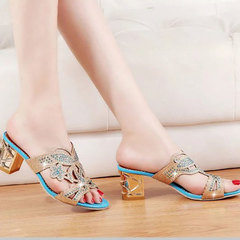2019 summer new women's sandals water drilling hollow slippers with thick fish mouth shoes Peacock blue 41