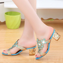 New women's sandals summer fashion women's slippers in rough with fish mouth drilling women's shoes blue 41