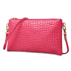 Patent leather small bag 2019 tide coin bag crocodile grain crossbody bag mobile phone coin purse Mei red All code