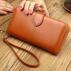 Wallet female long section oil wax skin new hot-selling mobile phone bag zipper bag card bag khaki all code
