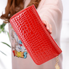 New double zipper ladies large capacity long bag patent leather pocket change mobile phone clutch West red all code