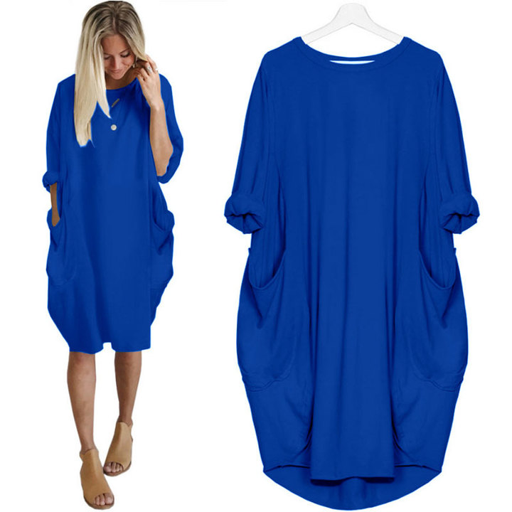 2019 new fashion casual baggy long-sleeved dress for women sapphire s