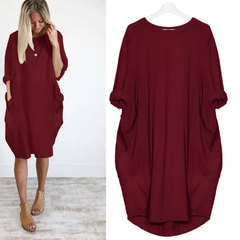2019 new fashion casual baggy long-sleeved dress for women purple 5xl