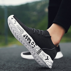 Net cloth sneaker of man recreational board shoe spring new fund student breathable run shoe 8002 black and white 39