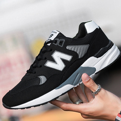 New comfortable men's shoes students net surface running shoes men's casual sports shoes 995 black and white 37