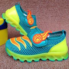 Summer new children's shoes children's shoes boys' shoes mesh breathable sneakers cyan Size 22 insoles 14.1cm long