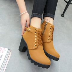 High heel belt buckle women's shoes chunky heel short boots round toe lace-up women's boots yellow 41