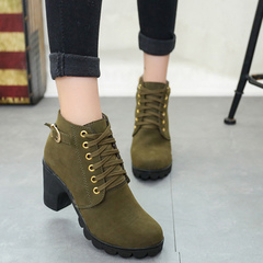 High heel belt buckle women's shoes chunky heel short boots round toe lace-up women's boots green 35