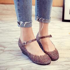 Sandals summer hollowed-out women's shoes crocs thick soles jelly shoes women's sandals Flash black 36