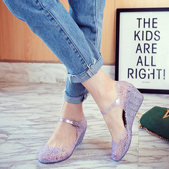 Sandals summer hollowed-out women's shoes crocs thick soles jelly shoes women's sandals glitter 40