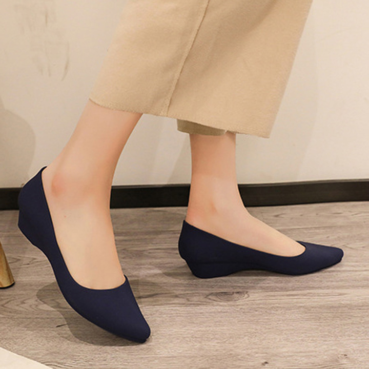 Spring 2019 new vintage platform shoes with thick soles and sloping heels black 40