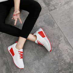 2019 women's shoes sports casual shoes fly knit breathable sneakers women's running shoes white 35