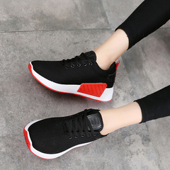2019 women's shoes sports casual shoes fly knit breathable sneakers women's running shoes black 40