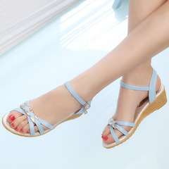 The new summer midsole pumps come in a solid, all-in-one color with a buckle for women blue 35
