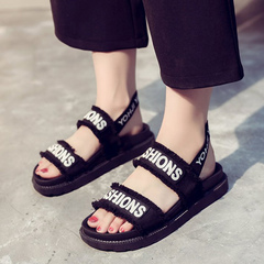 2019 summer new style girls in large female children's shoes online fashion sandals black 35