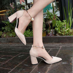 The new single toe toe strap chunky sandals with pearl heels for slimmer women Rice white 34